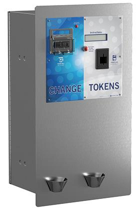 DRS-CCT Dual Rear-Load Changer with Credit Card to Token Capabilities The DRS-CCT is a dual rear-load changer that is designed to accept cash and dispense change or tokens on one side of the machine,