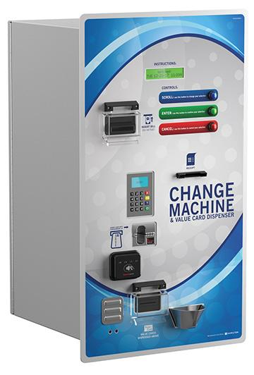 CCD (CARD & CHANGE DISPENSER) Rear-Load Coin Changer and Customer Value Card Dispenser The Card and Change Dispenser (CCD) offers two machines in one cabinet.