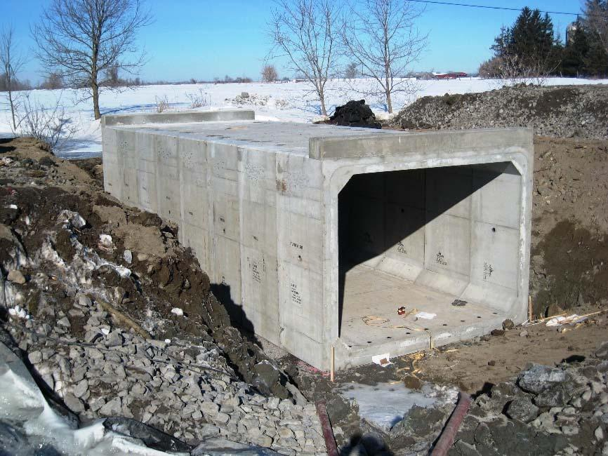 Fig. 17: Culvert with Precast Header Walls If the header wall is smaller in size, and not limited by mass or design, the header wall can be cast onto the box unit in a secondary pour while at the