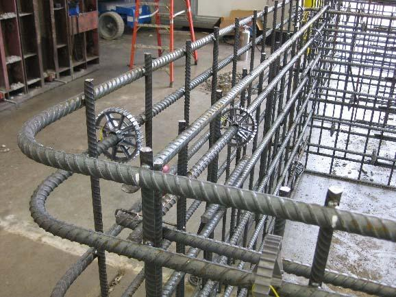 Splices in the perimeter reinforcement can be made by lapping.