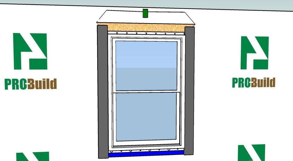 to the Jambs Apply Flashing to the Jambs Cut two pieces of 4 self-adhesive flashing long enough to extend 3 1/2 above the head of the window and below far enough to cover the
