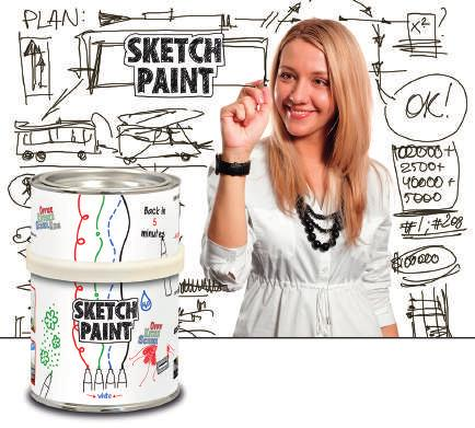 Sketchpaint Ideal for turning any smooth surface into a whiteboard SketchPaint - A whiteboard straight out of a tin!
