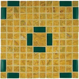 Glass Tile and Crema Marfil Marble Sizes: 12 x 12 / 30 x 30