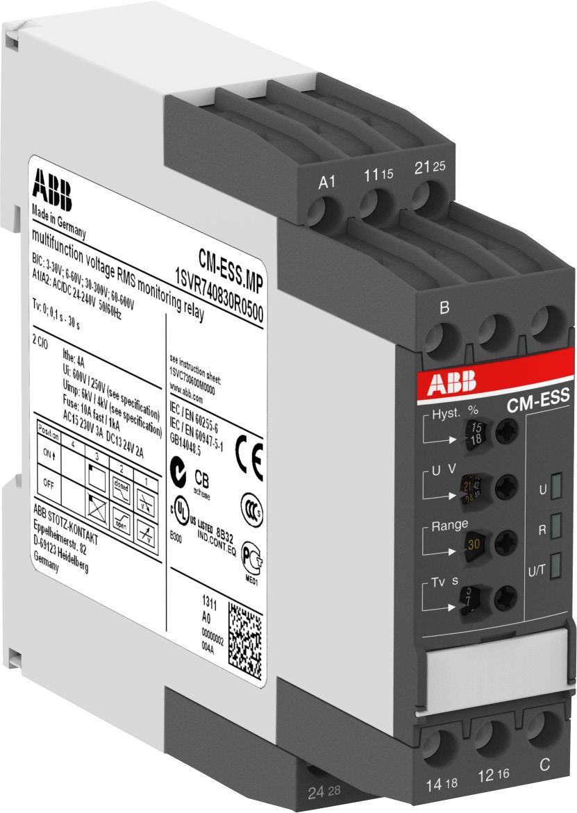 Functions Operating controls 1 Adjustment of the hysteresis 2 Adjustment of the threshold value 3 Indication of operational states U/T: LED green control supply voltage 1 2 R: LED yellow relay status