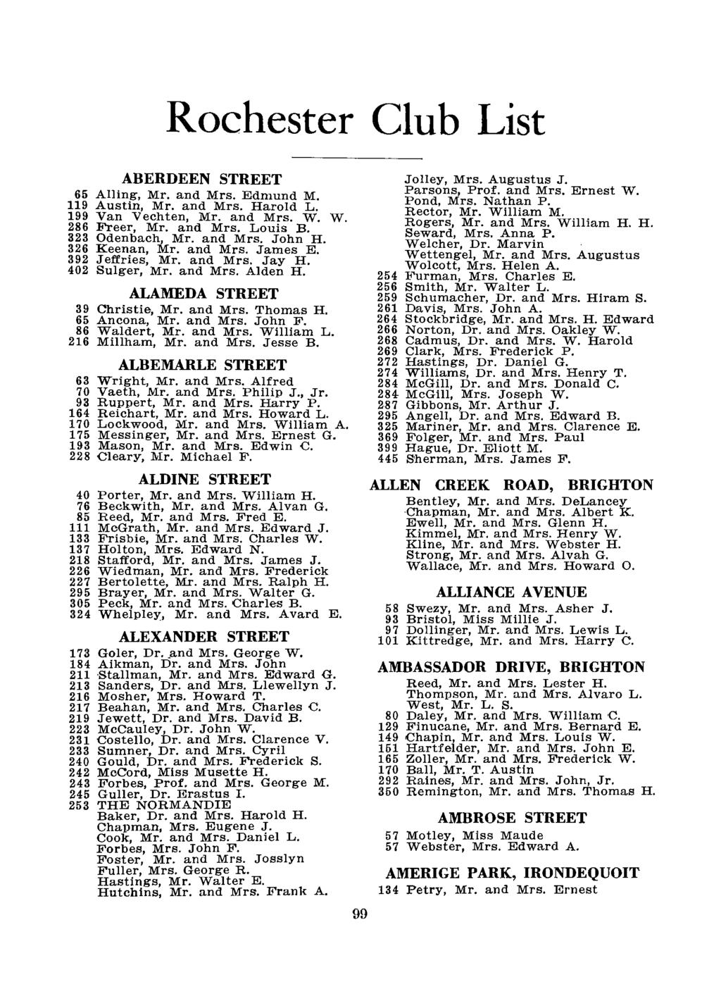 Rochester Club List ABERDEEN STREET 65 Ailing, Mr. and Mrs. Edmund M. 119 Austin, Mr. and Mrs. Harold L. 199 Van Vechten, Mr. and Mrs. W. W. 286 Freer, Mr. and Mrs. Louis B. 323 Odenbach, Mr. and Mrs. John H.