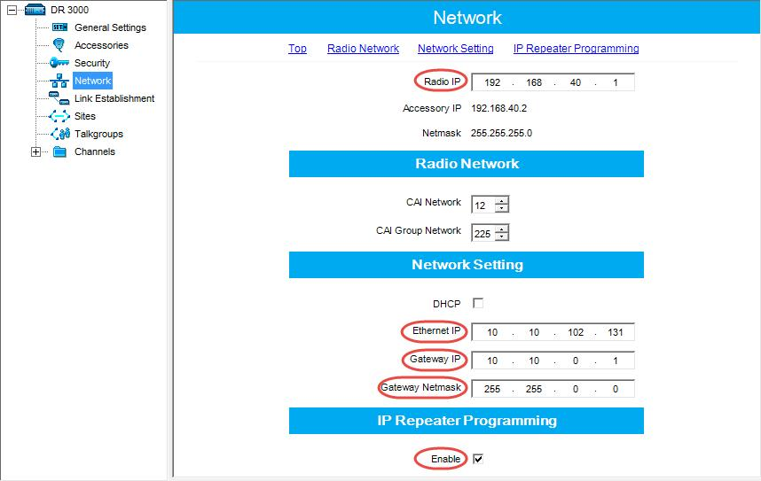 Configuring MOTOTRBO Equipment 4.1.2 Network In the left pane, select Network.