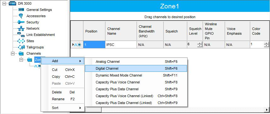 Configuring MOTOTRBO Equipment 4.1.4 Channel In the left pane, under Channels, right-click Zone and from the drop-down menu, select Add > Digital Channel.
