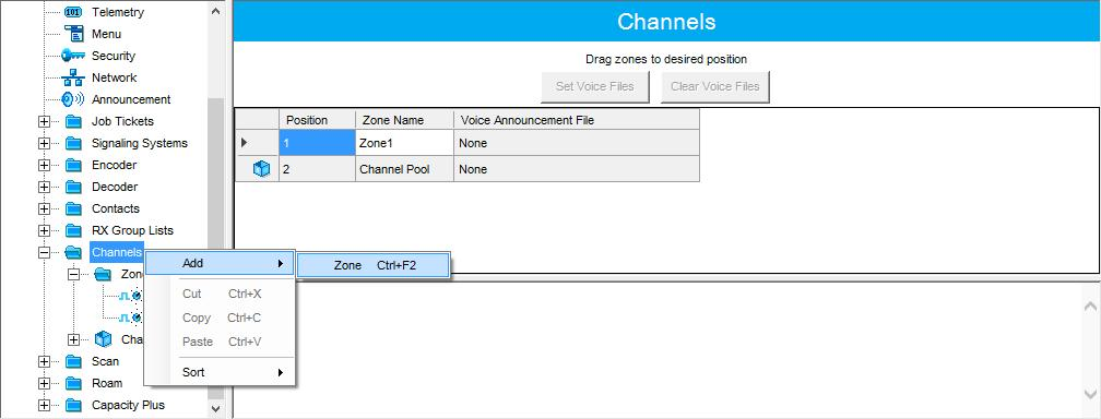 4.3.5 Channels In the left pane, select Channels. Right-click it, and choose Add > Zone.