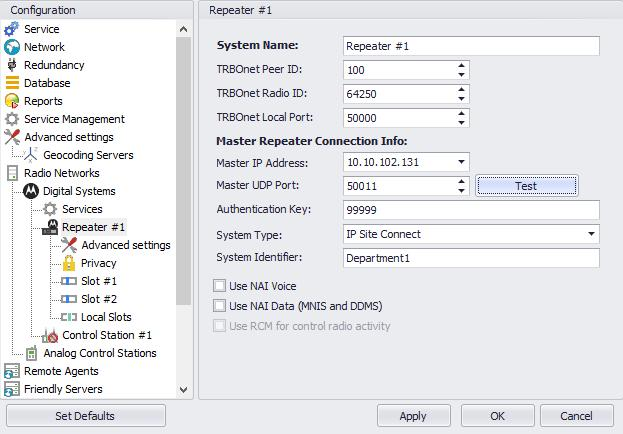 Configuring TRBOnet Enterprise System Name Enter a name for the repeater. This name will be displayed in the Dispatch Console. TRBOnet Peer ID Enter a Peer ID for TRBOnet Server.