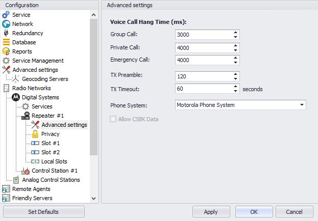 Configuring TRBOnet Enterprise In the Advanced Settings pane, specify the following repeater-related advanced settings: Voice Call Hang Time (ms): Group Call This value sets the duration the repeater