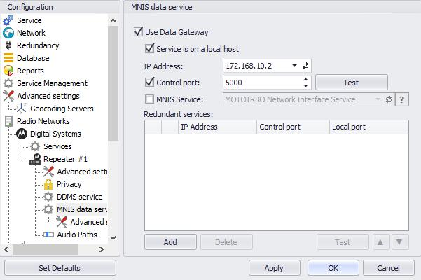 Configuring TRBOnet Enterprise In the MNIS data service pane, specify the following MNIS data servicerelated settings: Use Data Gateway Select this option to enable the MNIS data service for the