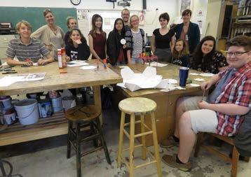 Studio offerings include painting in oils, acrylics, and watercolor, drawing, pastels, ceramics, photography, jewelry-making, and glass slumping.