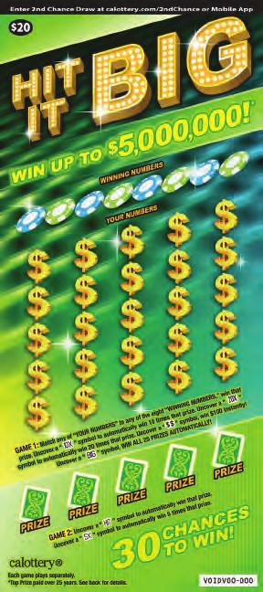 $ 20 HIT IT BIG GAME #1284 NOVEMBER 2017 WIN UP TO,000,000! 30 CHANCES TO WIN! HOW TO PLAY GAME 1: Match any of YOUR NUMBERS to any of the eight WINNING NUMBERS, win that prize.