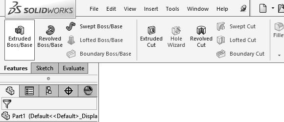 13. Extruding a Boss: - Switch to the Feature toolbar and click or