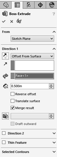 From Surface Condition G Using the Up To Body option: - This option extrudes the sketch from its sketch