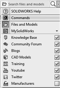 Using the Search Commands: The Search Commands lets you find and run commands from SOLIDWORKS Search or locate commands in the user interface.