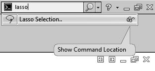 1. Search Commands in Features Mode: - The example below shows how you might use Search Commands to find and run the Lasso Selection