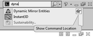 - Click Show Command Location ; a red arrow indicates the command in the user interface.