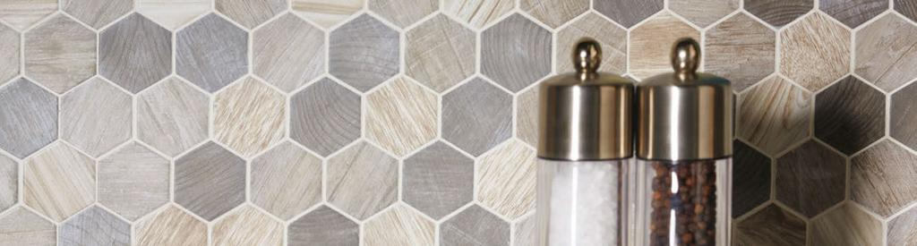 CROSSWOOD Photo features Crosswood Pelican in Hexagonal Glass Mosaic on the wall.
