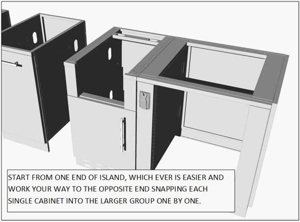 Using a Leveler, place on top of each cabinet group as you assemble, taking special precaution that the top is Leveled as you go.