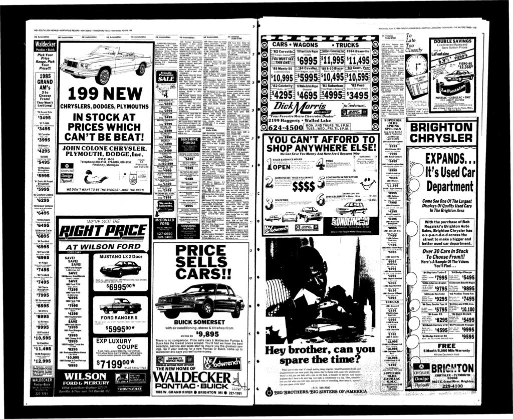 U-B-SOUTH LYON HERALD-NORTHVLLE RECORD-NOV NEWS-THE MLFORD TMES-Wednesday, April 16,1986 Wednesday, April 16,1986-SOUTH LYON HERALD-NORTHVLLE RECORD-NOV NEWS-THE MLFORDTMES-S-B Waldecker Pntiac Buick