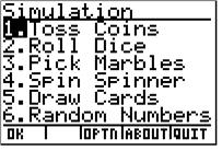 36 Theoretical and Experimental Coin Tosses wwwck12org After pressing ENTER, you will have the following screen appear, with Toss Coins as the first option You can also use the randbin function on
