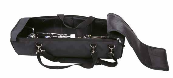 5 L x 10.5 W x 7 H. GSPCB DOUBLE PEDAL CARRY BAG Fully Padded double pedal carry bag, with pockets for tools and extra parts. Shoulder strap included. 14.5 L x 10.5 W x 7 H. GDPCB 56 57 RACK BAG 54 rack bag with ABS insert.