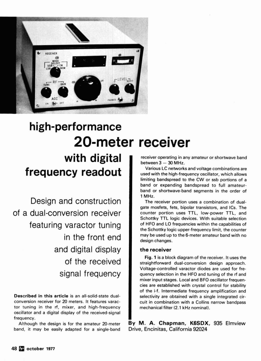 Radio Kilowatt October Syllabic Vox System Ghz Mixer Meter Receiver Thomas Henry 555 Vco Circuit Working Outs High Performance 20 With Digital Frequency Readout Design And Construction Of A