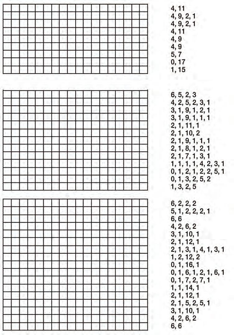 Exercises Use the instructions below to draw three pictures in the boxes below. Use the numbers to colour in the squares for each picture. There is a row of numbers for each line in the pictures.