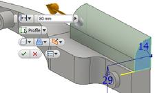 d). Select the trim tool and remove the right hand section of the curve. e). Finish the sketch. 4). Extrude the profile 80 mm.