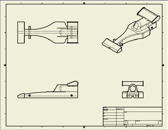 Notice that the orthographic views (top and side views) will move with it. Position all the view as shown. 5).