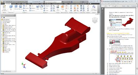 Screen setup Another option to go through this tutorial is to open the Introduction to Autodesk_Inventor_F1_in_ Schools_Screen_Version.