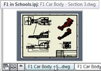 6). Make the F1 Car Body Section 3.dwg drawing current by clicking its tab on the bottom left above the Status Bar.