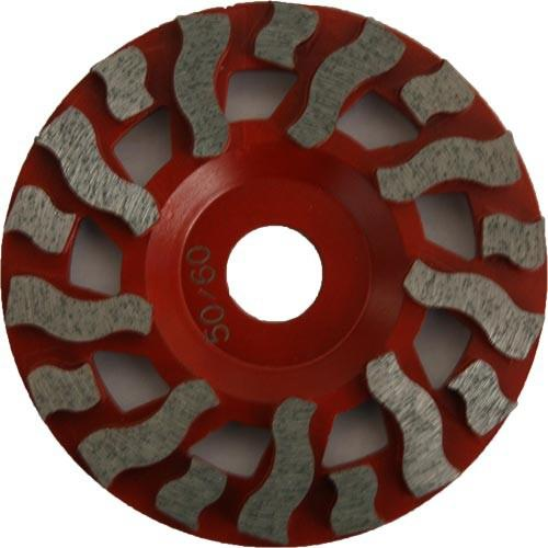 Diamond cup wheels are used for: Concrete cleaning, thin coating removal, edging and concrete removal.