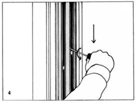 & pull downward until at proper height and turn screwdriver slowly until locked in place. (fig. 4).