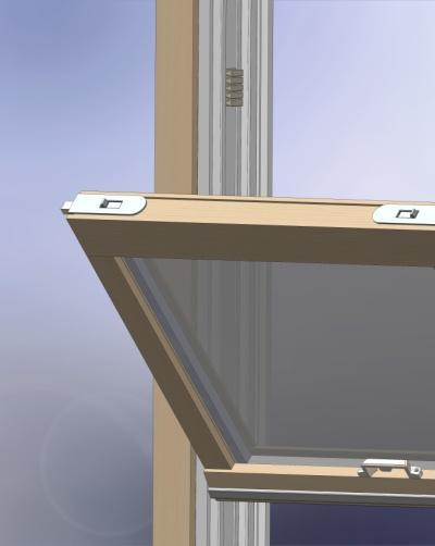 When the upper sash is in the fully raised position the adhesive pads should be located as shown in (fig. 10). fig.