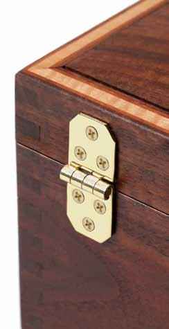 Depending on the type, they can be nailed or screwed in place. Surface-mount hinges are visible when the box is closed or open.