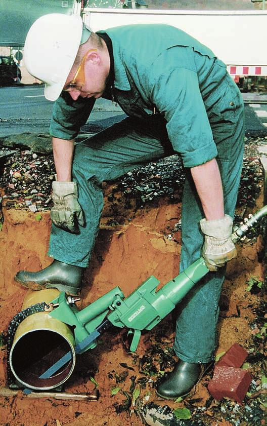 "Portable Hacksaws for Tough Duty On-site cutting of pipe up to 30"" OD and structural steel Pneumatic Electric Hydraulic CS Unitec's power hacksaws offer a wide range of options for portable cutting"