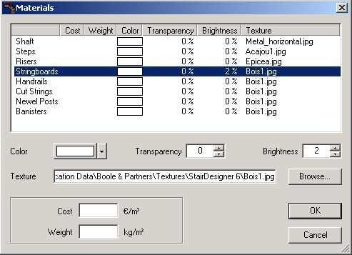 Setting up the materials To set up the different types of materials open up the PARAMETERS menu and click MATERIALS.