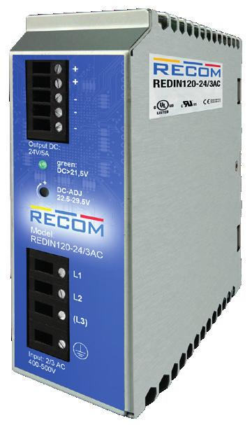 Features DIN-Rail Description 2 and 3-phase operation Input voltage range: 320 575VAC Output trim range: 22.