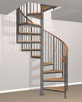 Round painted steel main and mid balusters support the handrail, which is usually shipped in two to four pieces.
