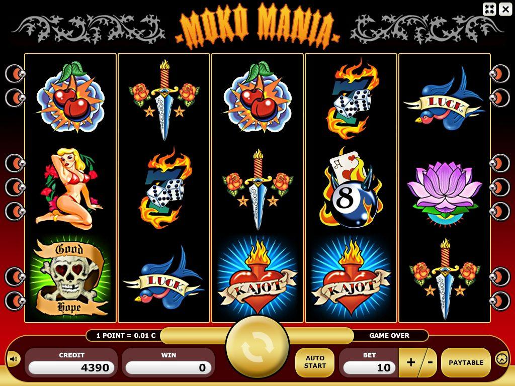 Moko Mania Description and Rules Moko Mania is a game with five reels. A game result consists of 5x3 symbols, each reel showing a section of three symbols.