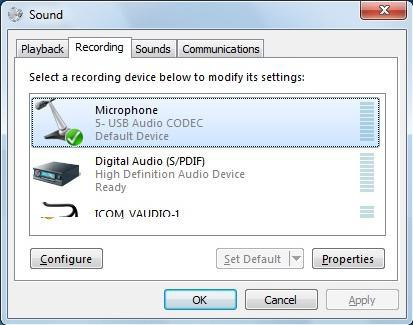 PREPARATION Volume adjustment for audio device Windows 7/ Windows Vista (Continued) t Click the [Recording] tab on Sound.