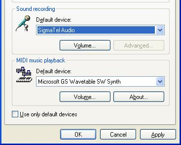 y Return to the [Audio] tab in Sounds and Audio Device Properties.