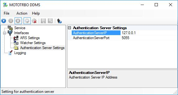 Configuring MOTOTRBO Equipment In the left pane, select Authentication Server Settings.