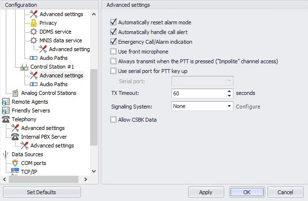 Configuring TRBOnet Enterprise 5.1.2.1 Advanced Settings In the Configuration pane, under the corresponding Control Station, select Advanced Settings.