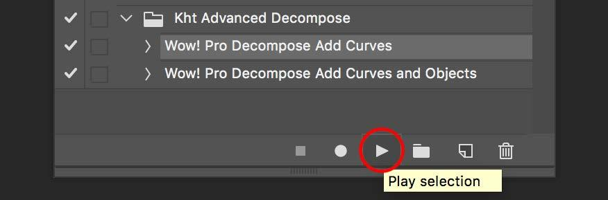 What are these actions for The Panel Wow! Pro Decompose Add Curve adds a curve adjustment layer to the five scale layers.