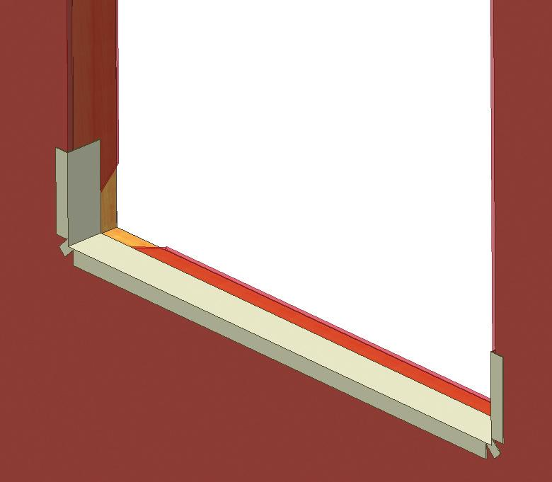 "8) C) Cut 1½"" slits at each end of the flashing as shown below. (Fig. 8) D) Apply sill flashing to the rough opening as shown below. (Fig. 9) E) If you are using non-adhesive flashing: a."