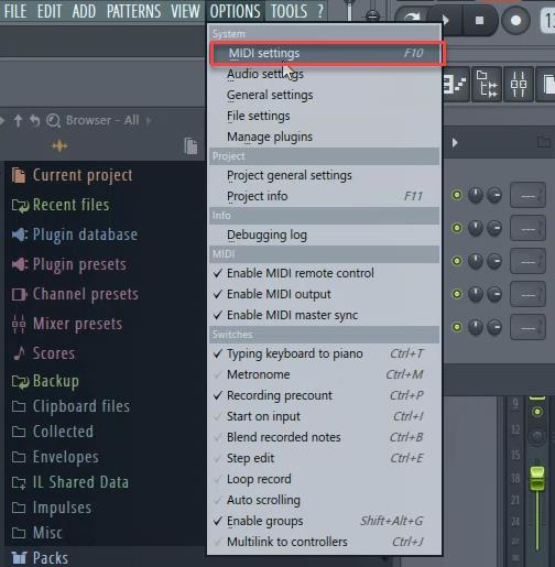 FL STUDIO 1) Launch FL Studio 2) Go to Options and select Midi Settings.