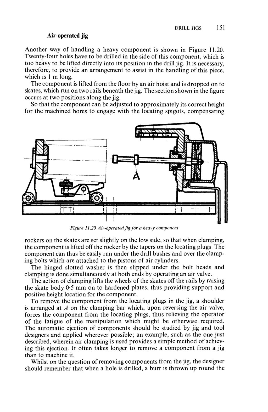 Air-operated jig DRILL JIGS 151 Another way of handling a heavy component is shown in Figure 11.20.